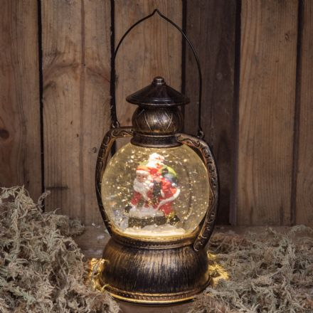 Father Christmas in Traditional Lantern Snow Globe